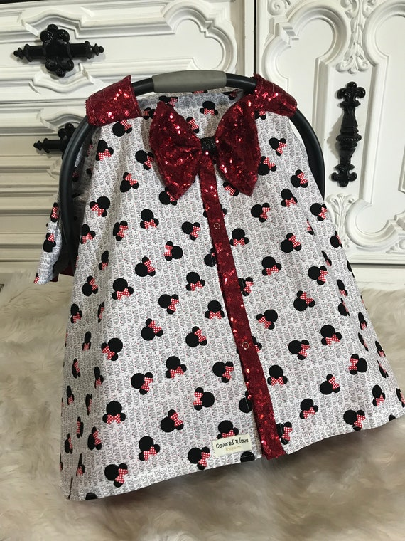 Minnie Mouse car seat canopy , sparkle slit and bow , Minnie Mouse , Disney