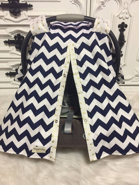Carseat Canopy, navy and gold   / Car seat cover / car seat canopy / carseat cover / carseat canopy / nursing cover