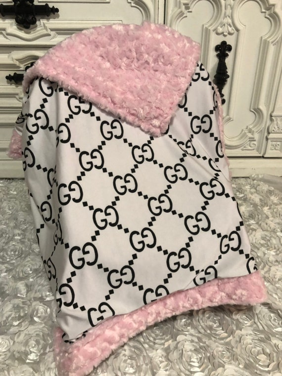 Designer inspired  Baby Blanket , pink accent fur