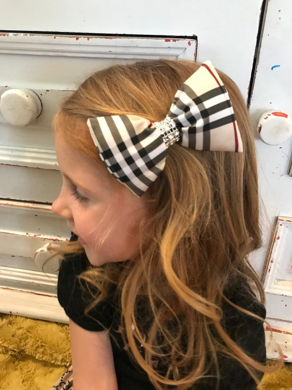 Designer inspired hairbow , Burberry inspired hair bow