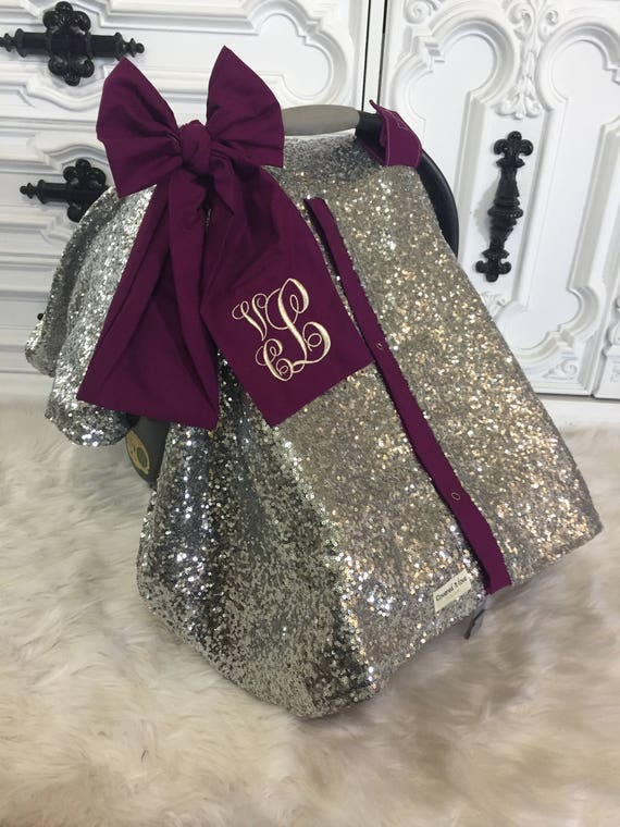 Silver Sparkle Car Seat Canopy With Bow And Name Carseat