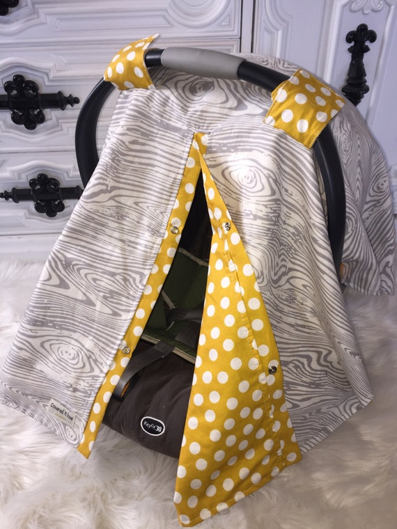 Car seat canopy wood grain and mustard  / Car seat cover / car seat canopy / carseat cover / carseat canopy / nursing cover