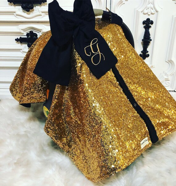 Bright gold sparkle car seat canopy  ,carseat cover / carseat canopy /sequin / infant car seat cover /  gold / sparkle