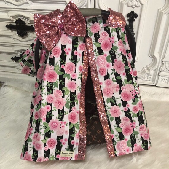 Car seat canopy , floral with pink sparkle accwnts , carseat canopy , car seat cover , floral , sparkle