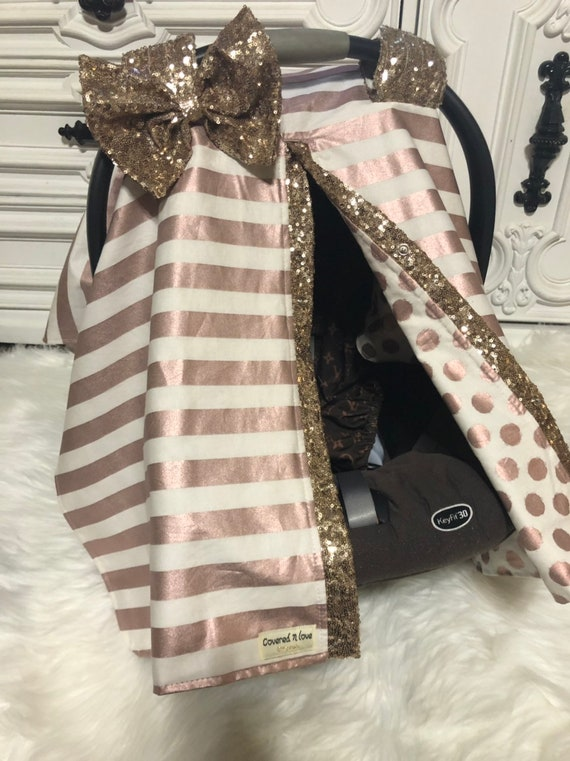 Car seat canopy , stripes , Rose  Gold ,  car seat cover , bling