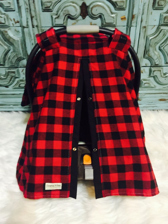 Car seat canopy red and black buffalo plaid car seat cover / carseat cover /carseatcover /carseat canopy