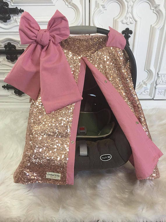 Rose Gold and Blush / CAR SEAT COVER / car seat canopy / nursing cover / carseat cover / carseat canopy / ooak / sequin / infant car seat