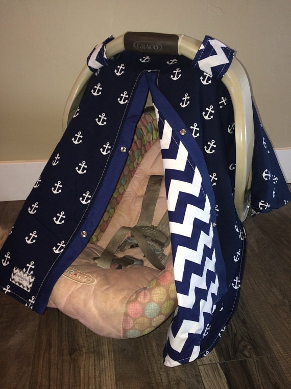 baby carseat canopy Navy Anchors Navy chevron / car seat cover / nursing cover / carseat canopy / carseat cover