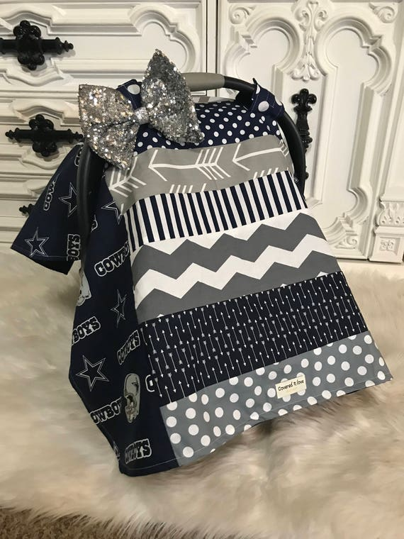 Cowboys car seat canopy , come with detachable Jumbo bling bow, Ready to ship