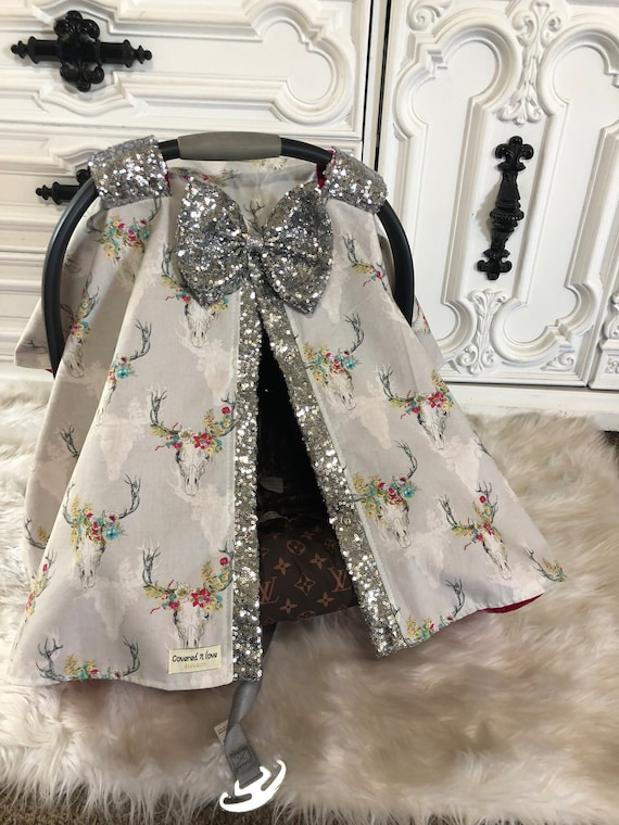 Car seat canopy ,  country princess , car seat cover , cow skull , floral