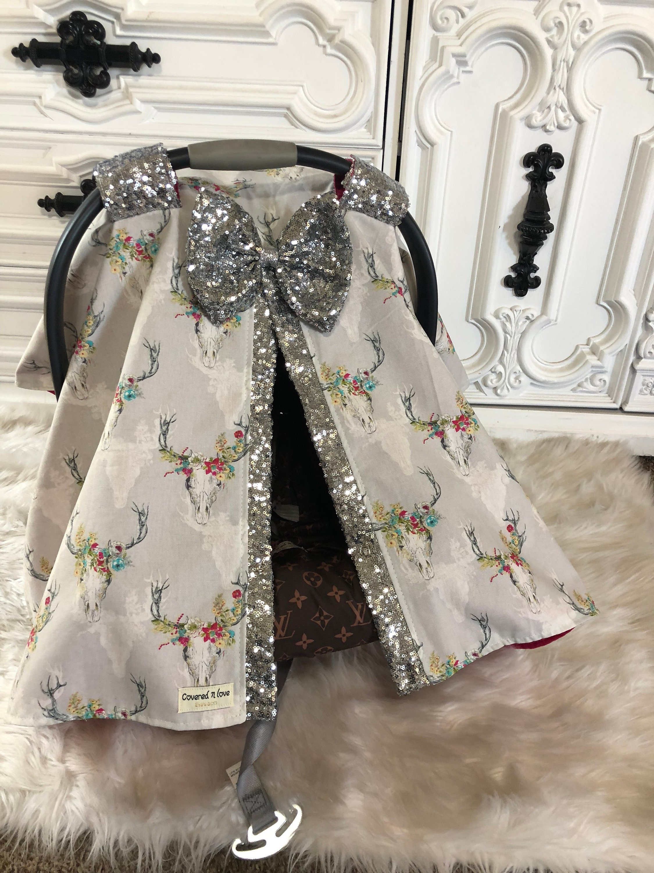 Car Seat Canopy Country Princess Cover Cow Skull Floral