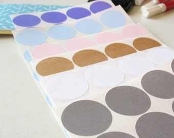 Circles Sticker Paper or Sticker Labels in Blank -Choose Color and Size-