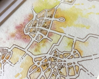 """Framed Original Drawing - """"Site-Specific"""" series #4 - Pen+watercolor imaginary map in gold frame"""