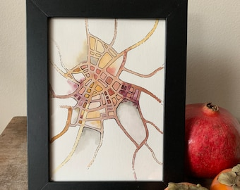 """Framed Original Drawing - """"Site-Specific"""" series #7 - Pen+watercolor imaginary map in black frame"""
