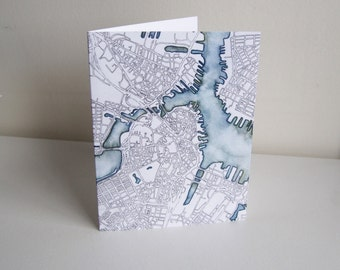 Map Greeting Cards - Boston-inspired