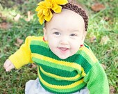 6 Months -- Hand Knit Baby Sweater, Unisex -- KLINGLE ROAD -- Green and Yellow Striped -- Perfect for Baby Showers -- Childrens Clothing