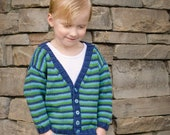 Baby Boy Sweater -- Handknit -- LINCOLN ROAD -- Childrens Clothing -- Striped Cardigan -- Green, Navy, and Aqua -- V-Neck Sweater