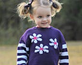 Childrens Clothing Girls -- Baby Sweater -- Purple, White, and Pink Baby Sweater -- CAROLINA PLACE -- Hand Knit Sweater -- Flower Sweater