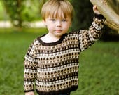 Boys Baby Sweater -- Brown and Cream Striped Sweater -- WARREN STREET -- Hand Knit Sweater -- Baby Gift Baby Shower