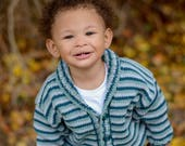 Boys Baby Sweater -- Blue-Green, Aqua, Teal, and Gray Striped -- Kids Cardigan -- Shawl Collar -- IRVING STREET -- Children's Clothing