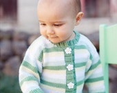 6 Months -- Baby Sweater, Girls -- SPRING ROAD -- Daisy Striped Cardigan -- Childrens Clothing -- Perfect for Spring Baby Showers