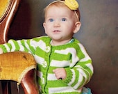 9 Months -- Childrens Clothing -- Baby Sweater, Hand Knit, Unisex -- PROSPECT STREET -- Green and White Striped Cardigan
