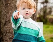 24 Months -- Children Clothing -- Boys Hand Knit Baby Sweater -- Aqua/Blue-Green Ombre Color Block -- MONROE STREET