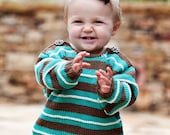 24 Months -- Hand Knit Baby Sweater, Unisex -- Childrens Clothing -- SOMERSET PLACE -- Turquoise and Brown Striped