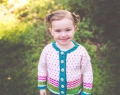 Girl's Baby Sweater -- WISCONSIN AVENUE -- Cardigan -- White, Blue-Green, Hot Pink, Green, Orange