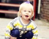 Yellow and Gray Baby Cardigan -- INGOMAR STREET -- Unisex, Chevron -- Children's Clothing