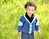 Boys Hand Knit Baby Sweater -- Childrens Clothing -- Ellicott Street -- Blue V-Neck Cardigan with Pockets -- Great for Spring Baby Showers