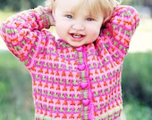 Baby Sweater, Hand Knit, Girls -- GERANIUM STREET -- Light and Bright Pink, Lime Green, and Orange -- Childrens Clothing