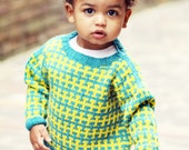 Baby Sweater, Handknit, Unisex -- RENO ROAD --Teal and Yellow -- Children's Clothing