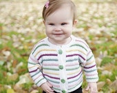 Baby Girl Sweater -- Childrens Clothing -- Handknit Baby Cardigan -- KALORAMA ROAD -- Multi-Colored Striped -- Perfect for Baby Showers