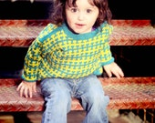 Children's Clothing --Teal and Yellow -- RENO ROAD -- Handknit Baby Sweater Unisex
