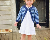 Baby Girl Sweater -- Blue Striped Baby Sweater Ruffle -- PORTER STREET -- Great for Baby Showers