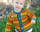 Hand Knit Baby Sweater, Unisex -- Childrens Clothing -- CHESAPEAKE STREET -- Multi-Colored Cardigan -- Perfect for Baby Showers