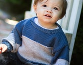 Children Clothing -- Hand Knit Baby Sweater, Boys -- KENNEDY STREET -- Blue and Gray Color Block -- Perfect for Spring Baby Showers