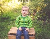 Unisex Baby Sweater -- OLIVE STREET -- Green Cardigan -- Boys and Girls -- Perfect for Baby Showers