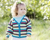 Baby Sweater, Hand Knit, Unisex -- PENNSYLVANIA AVENUE -- Multi-Colored Striped V Neck Cardigan -- Great for Baby Showers