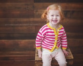 Girls Hand Knit Baby Cardigan -- Childrens Clothing -- Fairmont Street -- Pink, White, and Yellow Sweater -- Great for Spring Baby Showers