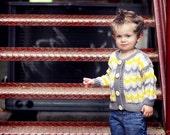 Children's Clothing -- Baby Sweater -- INGOMAR STREET -- Yellow and Gray Baby Cardigan, Unisex, Chevron