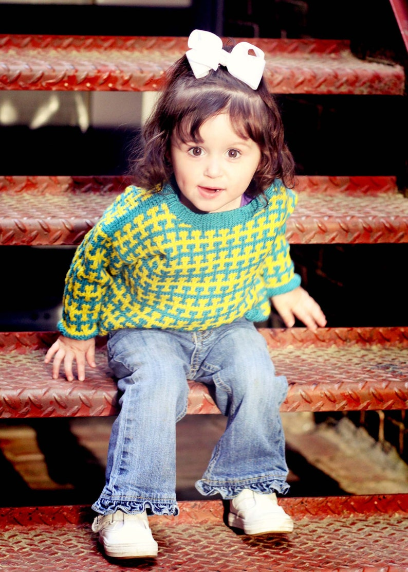 Children/'s Clothing -Teal and Yellow Handknit Baby Sweater Unisex RENO ROAD