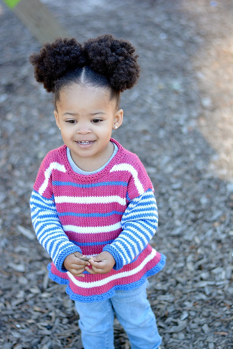 Hand Knit Sweater Blue Pink Girls Striped Baby Sweater Children/'s Clothing and White Ruffled Baby Sweater --ONEIDA PLACE