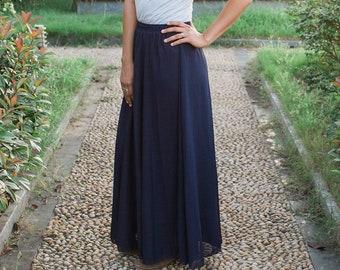 Dark Navy Blue Chiffon Ankle-length Maxi Skirt