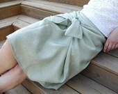 """Green Mint  Linen Skirt  """"Hug"""" FREE SHIPPING"""