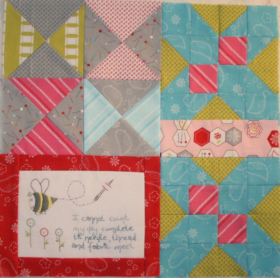 Soul Stitches Quilt BOM Block 3 My Day Complete