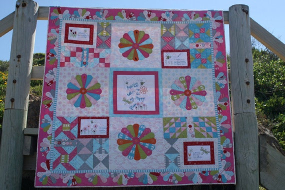 Soul Stitches Quilt BOM Block 1 Stitching in the Sunshine