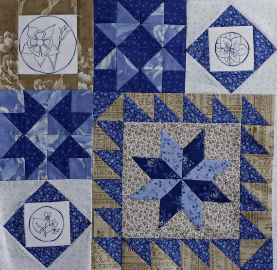 Blueberry Botanical Quilt Block of the Month Block 9