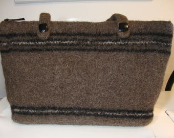 Felted laptop bag/briefcase/purse in brown and black - with lining and zipper pockets